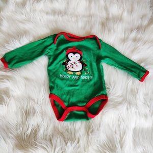 Merry and Bright Baby Penguin Onesie
